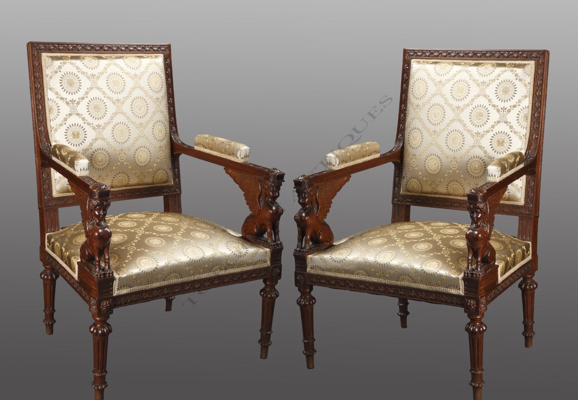 g jacob paire de fauteuils tobogan antiques. Black Bedroom Furniture Sets. Home Design Ideas