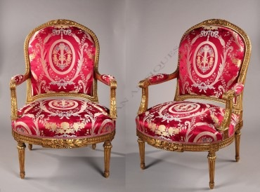 """Paire de fauteuils """"à la Reine"""" de style Louis XVI Tobogan Antiques Paris antiquités XIXe siècle"""