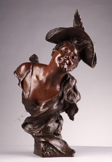 Jeune femme aux cerises van der Straeten bronze sculpture Tobogan Antiques Paris antiquités XIXe siècle