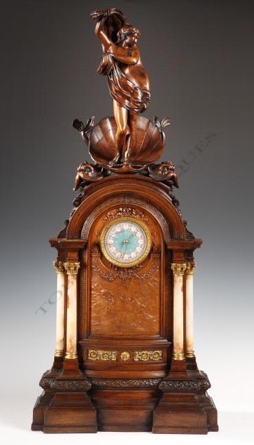 """Pendule aux """"Vénus"""" Van der Kemp horlogerie bois Tobogan Antiques Paris antiquités XIXe siècle"""
