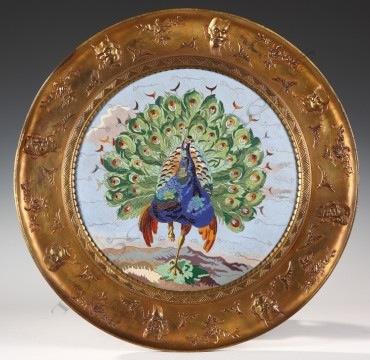 Grand plat emaillé Japonisant WillmS Elkington émail bronze objets Tobogan Antiques Paris antiquités XIXe siècle