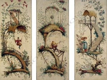 Chinoiserie Pillement peinture tableau Tobogan Antiques Paris antiquités XIXe siècle