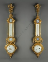 A. BeurdeleyPair of barometers, clock and thermometer
