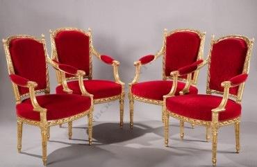Suite de quatre fauteuils Levraux Tobogan Antiques Paris antiquités XIXe siècle