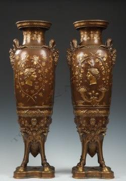 F. Levillain & F. Barbedienne<br />Pair of Greek Revival Vases