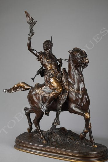 bronze arab falconer on horseback mene barbedienne