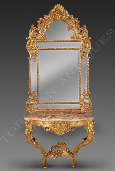 carved gilt wood pier table and mirror