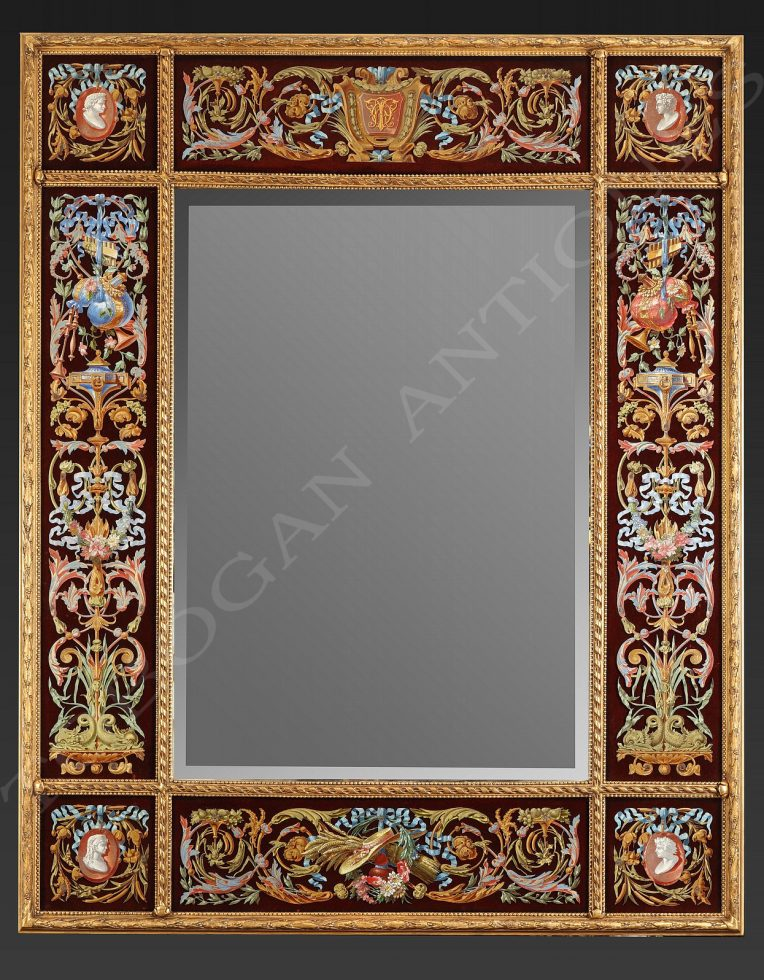 A Splendid Mirror with Rich Polychrome Ornaments