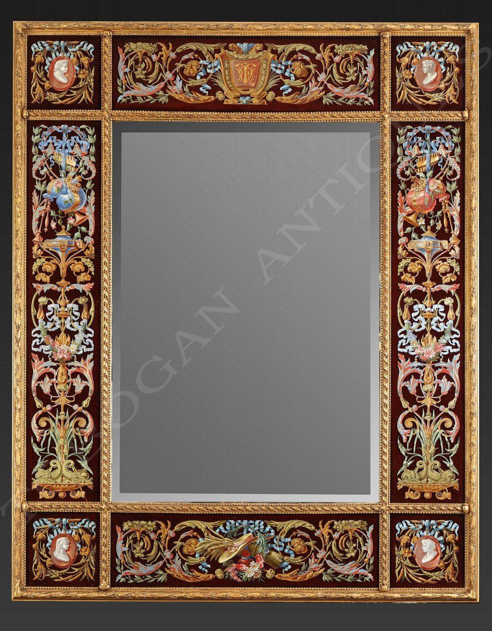 Rare miroir à parcloses <br/> décor peint sur étain