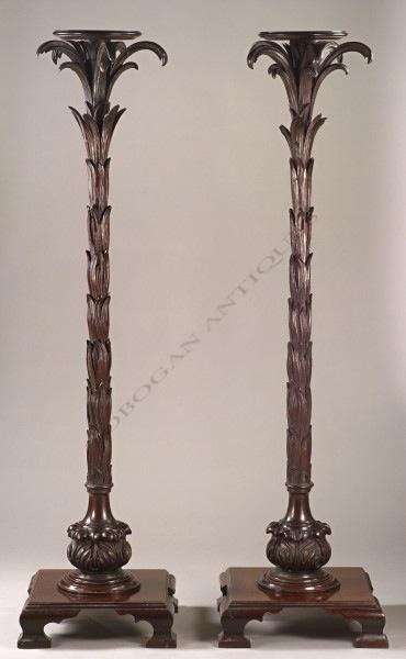 """Paire de sellettes """"palmier"""" Tobogan Antiques Paris antiquités XIXe siècle"""