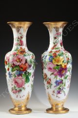 Baccarat Crystal Manufacture  Pair of Opal-Glass Vases