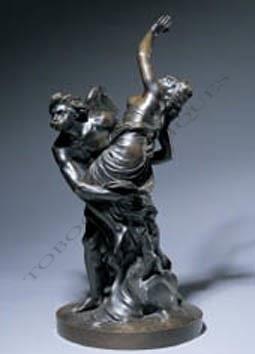 """""""Borée enlevant Orythie"""" et """"Pluton enlevant Proserpine"""" Boizot bronze sculpture Tobogan Antiques Paris antiquités XIXe siècle"""