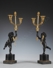 "Lovely Pair of Candelabras ""Aux Amours"""