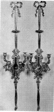 Paire d'appliques « Lyre » bronze Dasson Tobogan Antiques Paris antiquités XIXe siècle