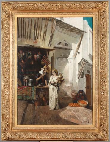 """""""Un Bazar"""" Beyle peinture tableau Tobogan Antiques Paris antiquités XIXe siècle"""