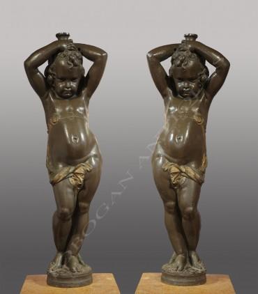 Carrier Durenne paire torcheres Tobogan Antiques Paris antiquités XIXe siècle