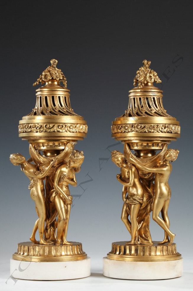 "Pair of Perfume Burners ""with Three Graces"""