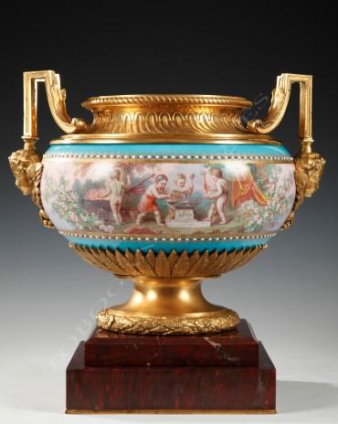 Coupe porcelaine bronze Schilt Sèvres Tobogan Antiques Paris antiquités XIXe siècle