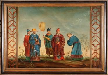 Chinoiserie peinture tableau Tobogan Antiques Paris antiquités XIXe siècle