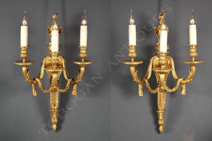 "Pair of wall-lights with an ""antique brasero"""