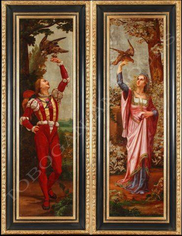 Belle paire de tableaux peints sur cuir et feuilles d'argent