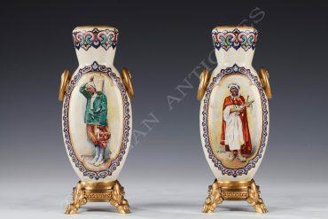 Paire de vases orientalistes - Signé RSA Bellanger - Tobogan Antiques - Antiquaire Paris