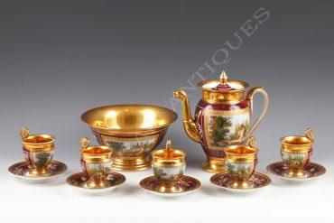 Service à thé en porcelaine de Paris - Tobogan Antiques - Antiquaire Paris