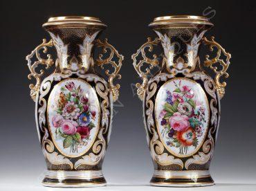 Paire de vases en porcelaine de Valentine - Tobogan Antiques - Antiquaire Paris