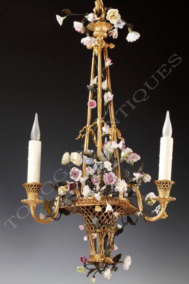 Lustre au panier fleuri - Attribué à H. Vian - Tobogan Antiques - Antiquaire Paris