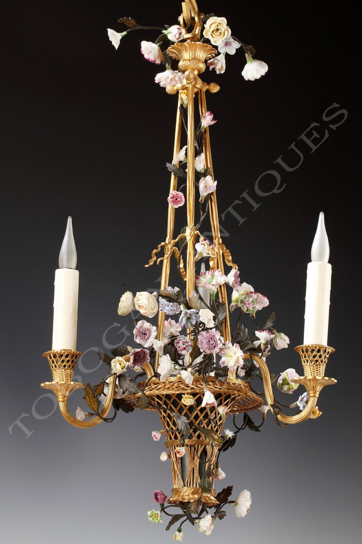 "H. Vian <br/> ""Panier fleuri"" chandelier"