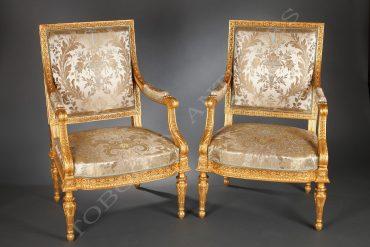 Paire de fauteuils de style Louis XVI - Tobogan Antiques - Antiquaire Paris