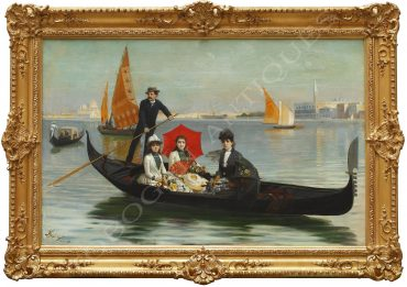 Picturesque scene representing a gondola ride in Venice.
