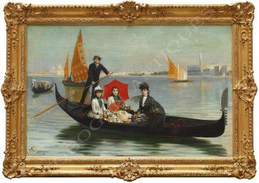 Scène de promenande familiale à Venise en gondole.