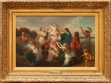 Scène représentant le châtiment de Cupidon par un groupe de jeunes femmes