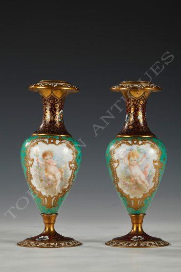 Paire de petits vases soliflores - Tobogan Antiques - Paris