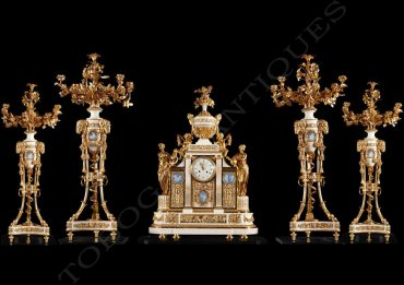 pendule-garniture-marbre-bronze