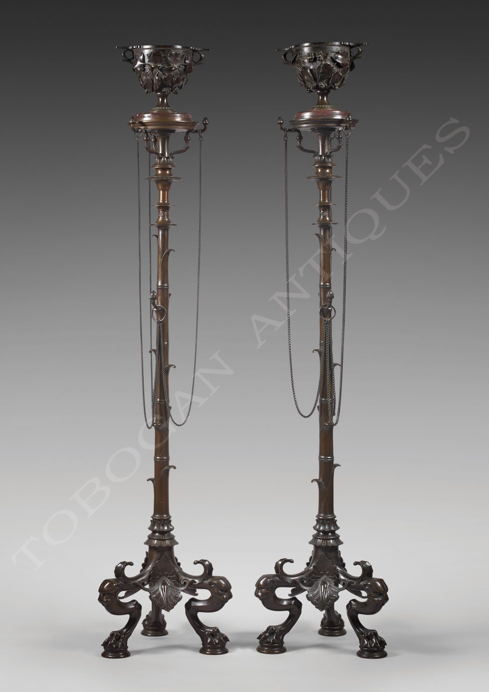 """H. Cahieux and F. Barbedienne <br/> """"Bambou"""" stands"""