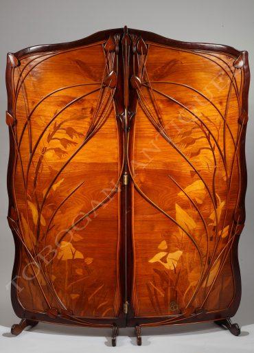 Paravent Art Nouveau à décor de plantes aquatiques en marqueterie de bois