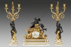 "H. Dasson""Venus"" mantel clock set"
