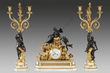 """Garniture """"Vénus au char"""" Dasson horlogerie bronze Tobogan Antiques Paris antiquités XIXe siècle"""