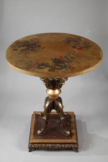 Guéridon japonisant laque mobilier Tobogan Antiques Paris antiquités XIXe siècle