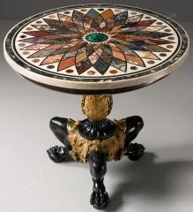 Guéridon Raffaelli mosaïque marbre mobilier Tobogan Antiques Paris antiquités XIXe siècle