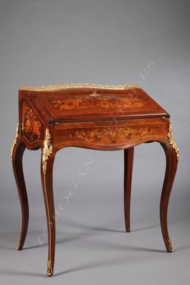 Bureau de pente de style Louis XV mobilier marqueterie Tobogan Antiques Paris antiquités XIXe siècle