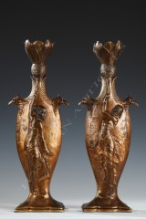 "Ch. Louchet Pair of ""Egyptian dancers"" vases"