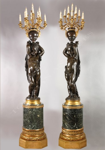 Paire de torchères bronze Carrier-Belleuse Tobogan Antiques Paris antiquités XIXe siècle