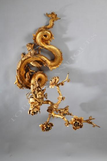 applique japonisante bronze Edouard Lièvre Tobogan Antiques Paris antiquités XIXe siècle