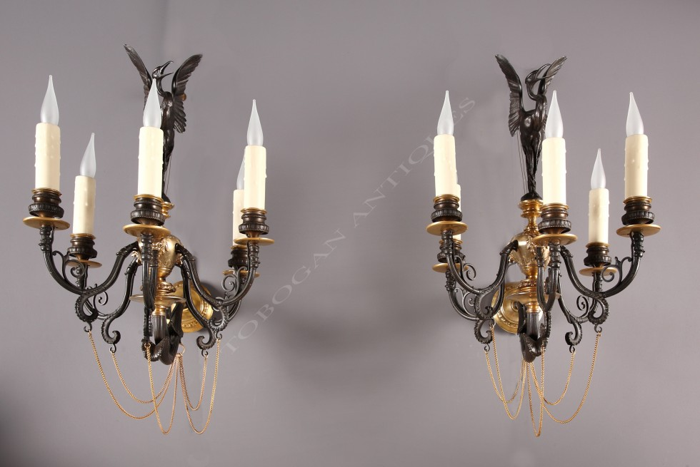 F. Barbedienne<br />Pair of neo-Greek wall-lights