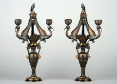 G. ServantPair of neo-Egyptian candelabras