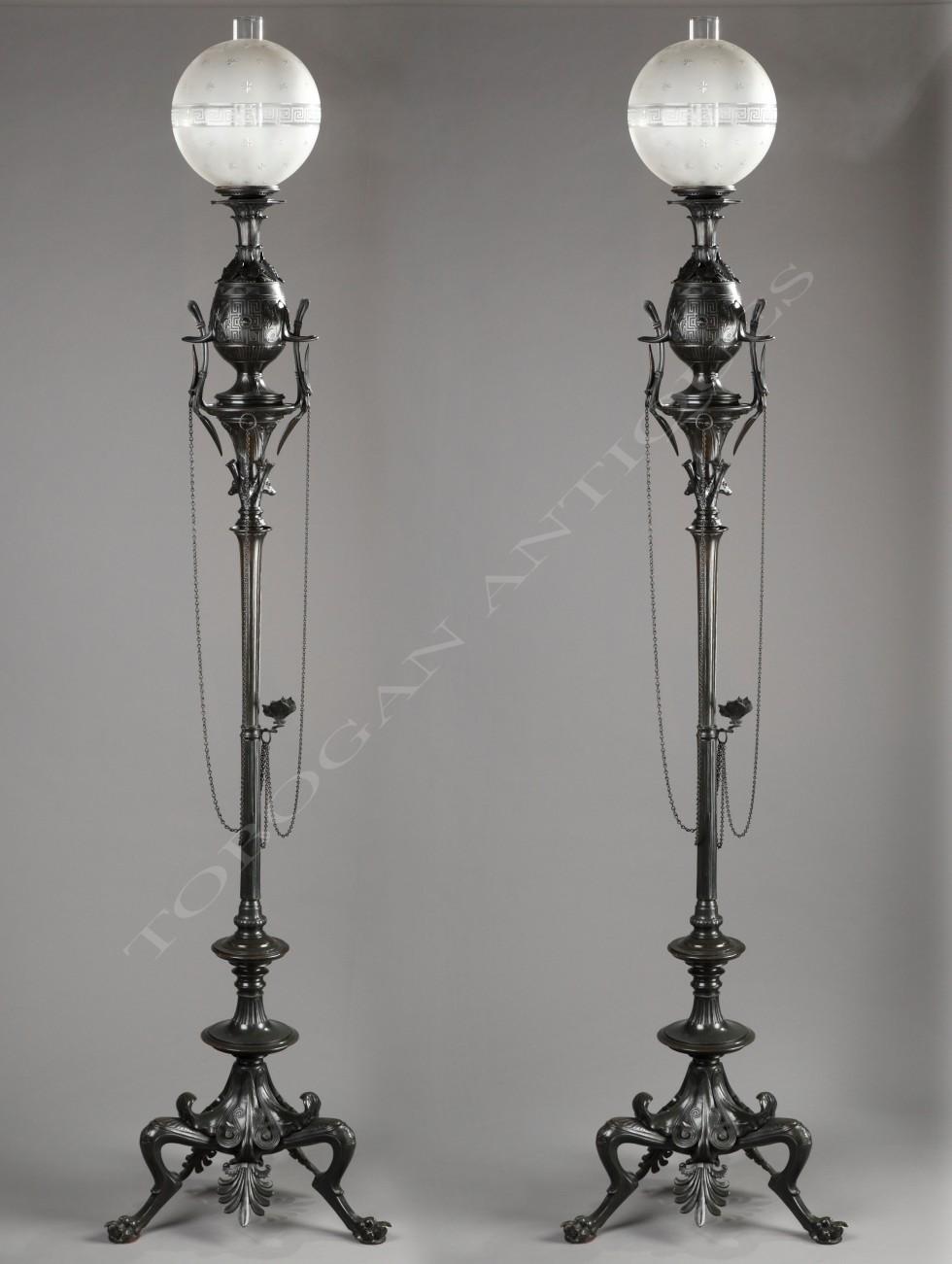 G. Servant<br />Pair of neo-Greek floor lamps