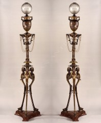 H. Cahieux & F. BarbediennePaire de lampes néo-Grecques